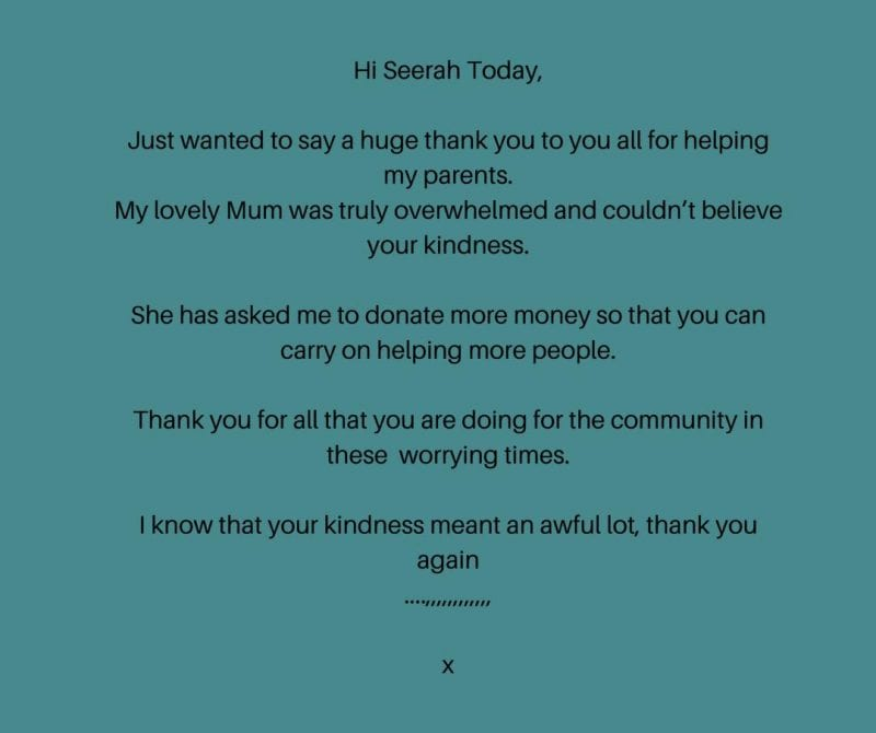Message of thanks from a client
