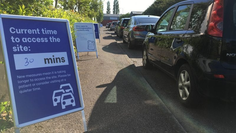 Be prepared to queue if you need to visit a recycling centre.