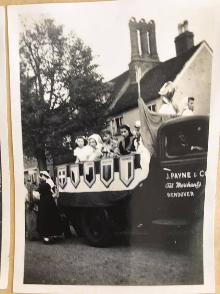 Here is photo of a Wendover VE Day parade float (on the back of the coal merchants truck). Britannia at the front it seems plus children in national dress. My mum, Anne Hibberd, is 2nd from the left as Czechoslovakia! Does anyone recognise any other faces?