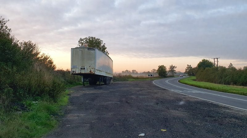 In the pictures (all sites feature in the series) - Abandoned trailer in a layby on the A413 north of Whitchurch