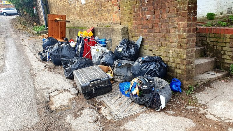 Fly-tipping in central High Wycombe