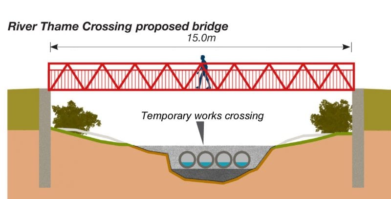 Bridge over the River Thame: design drawing of one of the two new bridges currently being made off-site