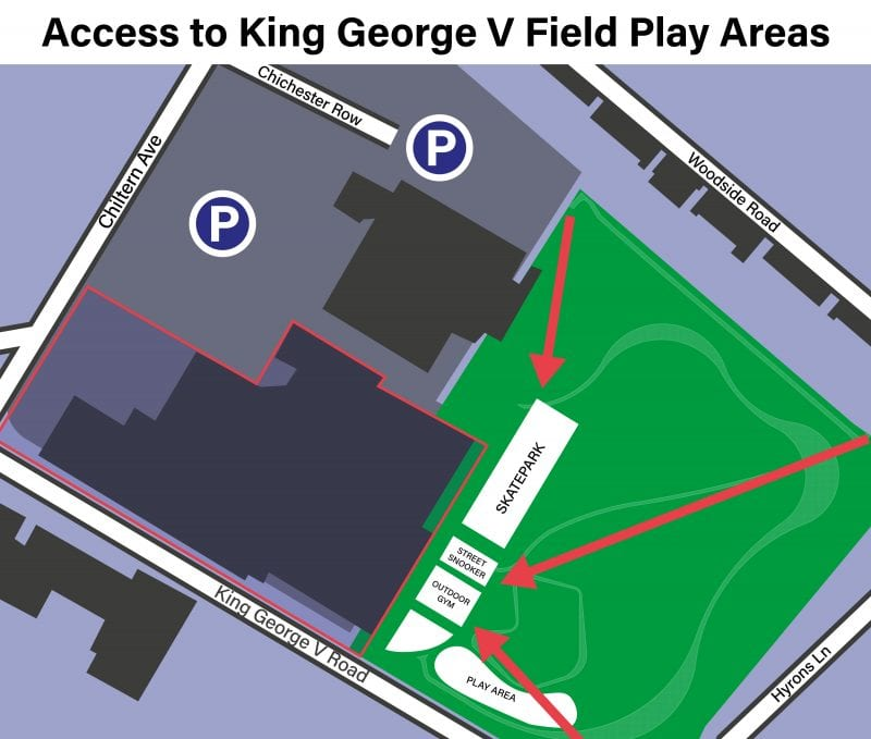 Diagram of access to King George V Field Play Areas