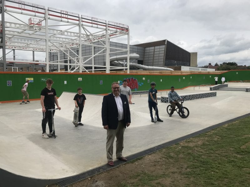 Cllr Clive Harriss, Buckinghamshire Council Cabinet Member for Sports and Leisure, meeting with some of the local skating enthusiasts who helped to shape the new skate park's design.