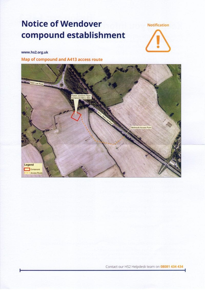 Temporary compound required near junction of A413 Wendover bypass and B4009 Nash Lee Road