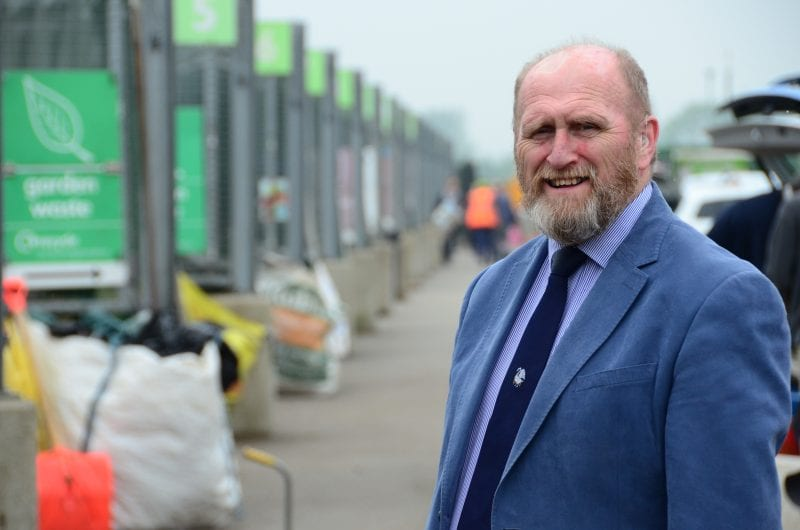 Bill Chapple OBE: Cabinet Member for Environment and Climate Change, at one of the Council's household recycling centres
