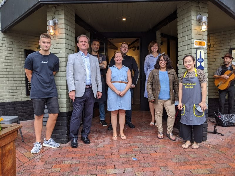 Steve Bowles, Chairman of the AGT Board and Cabinet Member for Town Centre Regeneration, with some of the owners of Cambridge Street businesses.