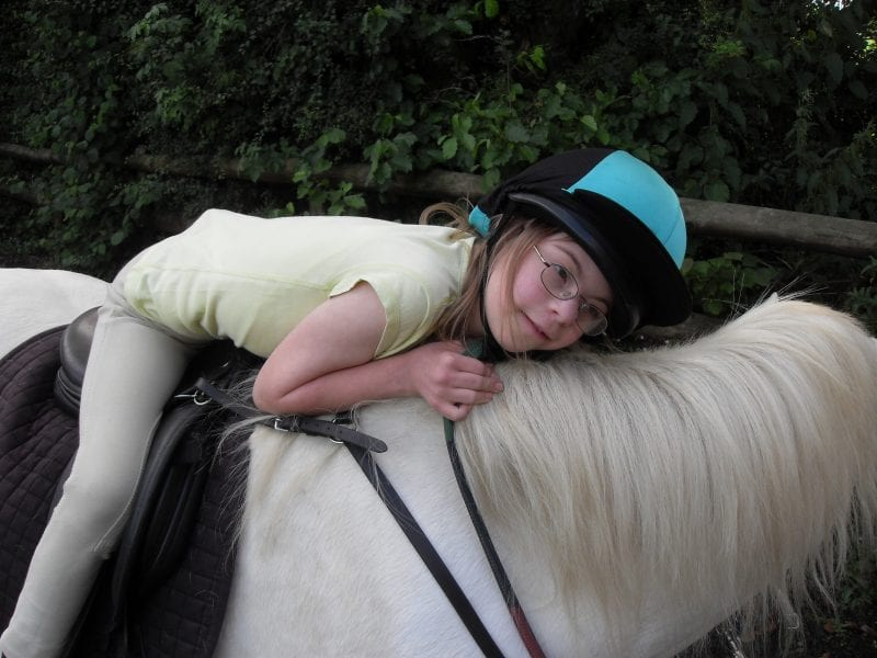 A student learning to ride at Shacks Barn Buckingham RDA
