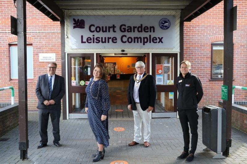 Outside Court Garden Leisure Complex: (L-R) Clive Harriss, Joy Morrissey MP. Richard Scott and Nicola Allen