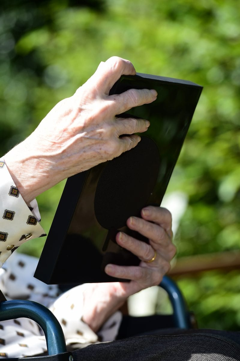 A Facebook Portal being used by one of the residents
