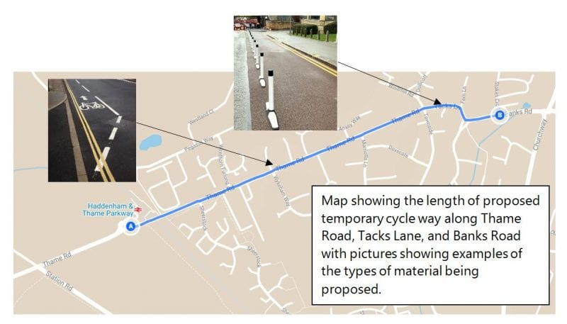 Plan of the Haddenham cycleway trial.