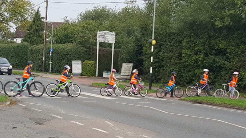 Biking it: Buckinghamshire pupils cycling to school find a safe way to cross the busy road