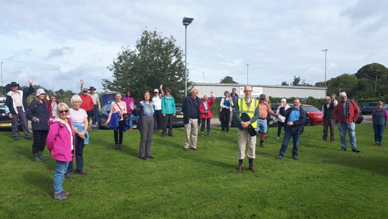 Ready for the 'off': a volunteer-led socially-distanced walk at Chalfont St Peter prepares to move off