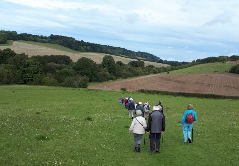 Over the hills: socially-distanced walkers enjoy a ramble near Downley