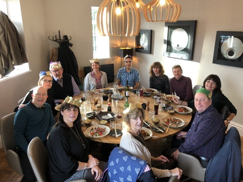 Team Christmas lunch: Steve (in the green hat) celebrates Christmas 2019 at a lunch with colleagues