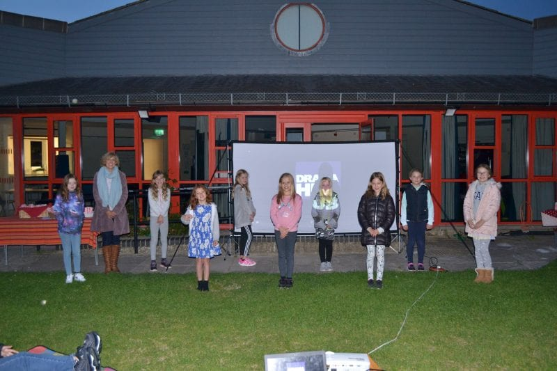 Tess and some of her Drama Hub students at the outdoor screening of their socially distanced film of the BFG!