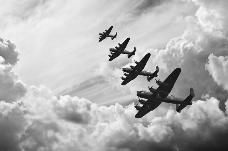 Black and white retro image of Lancaster bombers from Battle of Britain in World War Two, courtesy istock