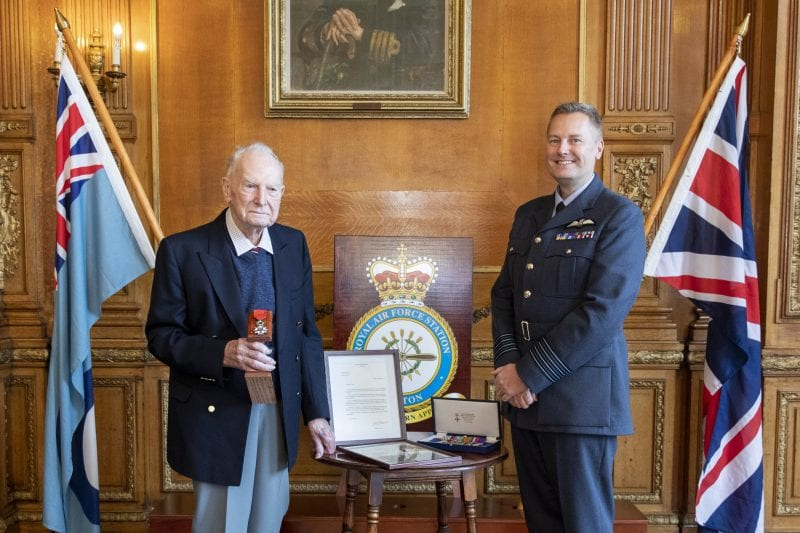 Mr Gilbert, an RAF Veteran, is awarded with a medal for involvement of the freedom of France in World War II.