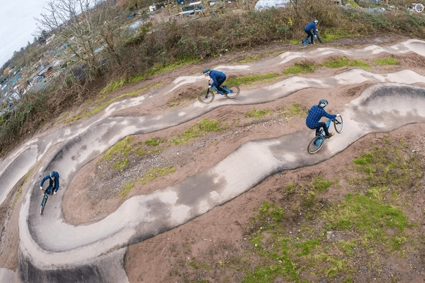 The vision of how the pump track will eventually look.