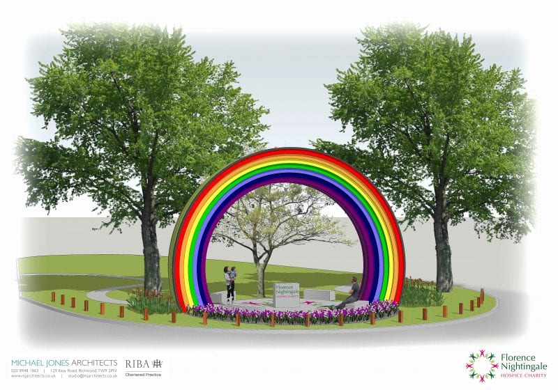 Artist's impression by Michael Jones Architects Ltd. Nightingale's Rainbow will be constructed next Spring at Stoke Mandeville Hospital.