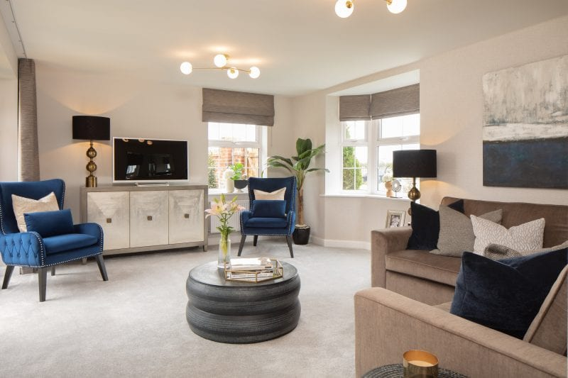 A living room in the Layton style home at Kingsbrook