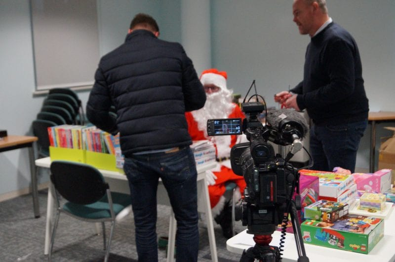 The ultimate scoop? Santa prepares for an interview with the BBC
