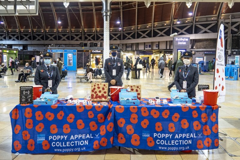 RAF Personnel Volunteer for Poppy Day at London Paddington Station.