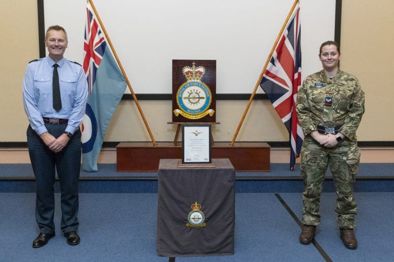RAF Personnel Recieve their Sports Colours, Presented by Stn Cdr Gp Capt Startup in the Lecture Hall of Air Command Squadron (ACS)