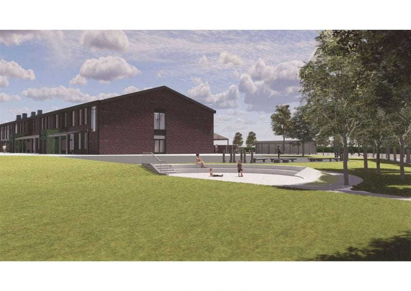 A CGI of the school in use
