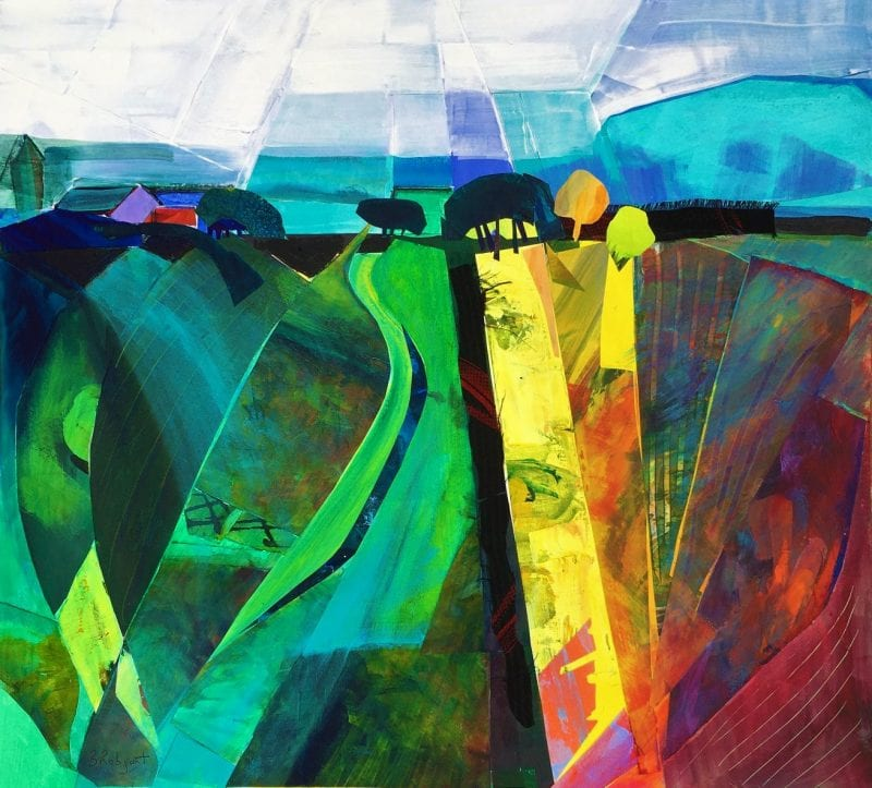 Fields on Dunny Lane - acrylic collage by Barbara Robjant