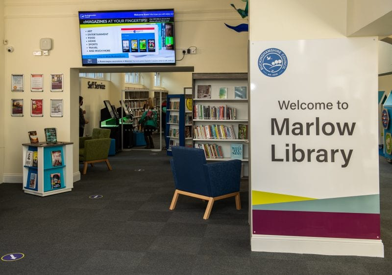 Marlow library reception area