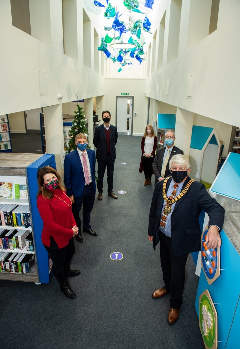 From inside the library (L-R Joy Morrissey, Alex Collingwood, Gareth Williams, Michelle Sandalls, Martin Tett and Richard Scott)