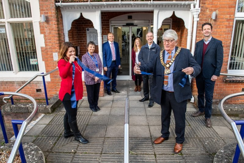 'With a deft snip of the scissors', Buckinghamshire Council Chairman, Richard Scott reopens Marlow Library (L-R: Joy Morrissey MP; Janet Webb, Library Operations Manager, Alex Collingwood, local Marlow Councillor; Michelle Sandalls, Marlow Library Manager; Martin Tett, Leader of the Council; Richard Scott and Gareth Williams, Cabinet Member for Communities and Public Health.