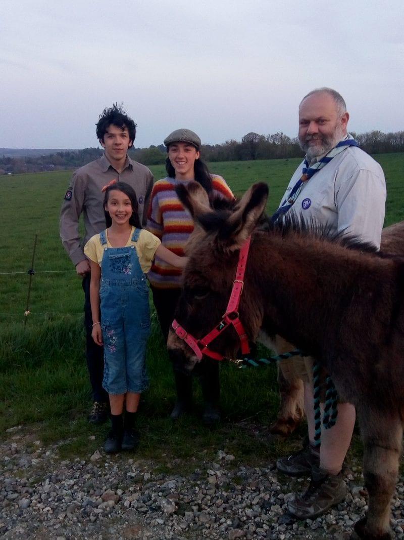 Duncan, Rachel, Reuben & Lydia Gray + donkeys Joey & Shankydd