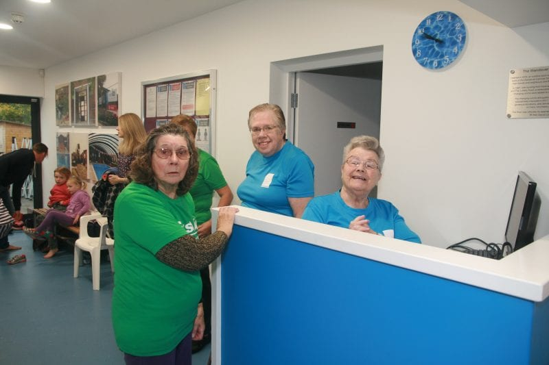 Liz and fellow volunteers surprised by photographer Matt Brown at the re-opening of the Pool on 4 November 2017 after a major refurbishment