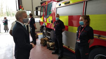 Rob Butler MP meeting firefighters at Aylesbury fire station