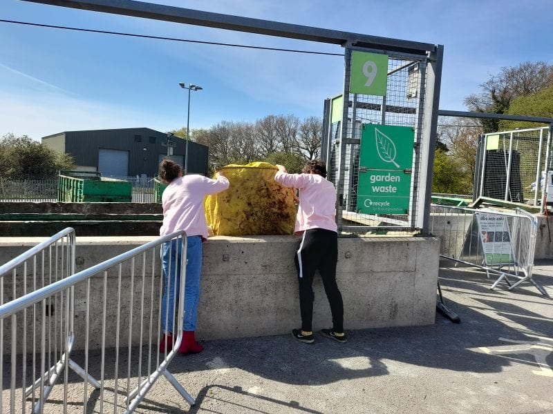 A green waste bin at a Household Recycling Centre