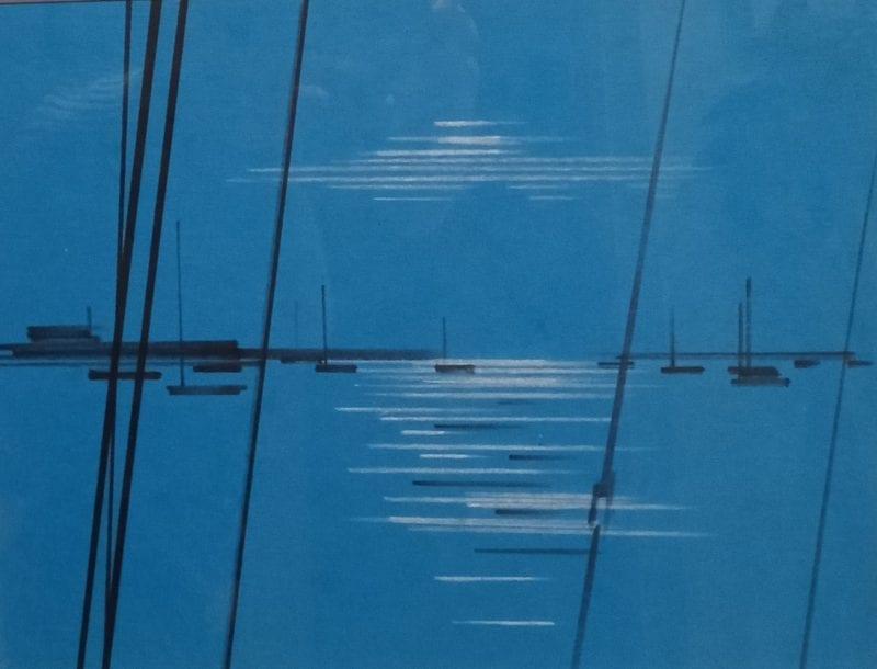 Moonlit harbour by Tony Hart