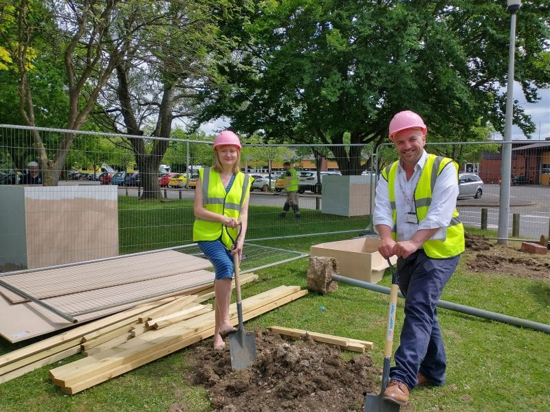 Neil Macdonald, Chief Executive of Buckinghamshire NHS Healthcare Trust and Jo Turner. Chief Executive Officer of Florence Nightingale Hospice Charity at the start of building works on the site of Nightingale's Rainbow