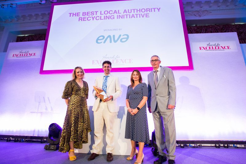 Winners photo left to right: Kate Quilton, Waste Promotions Lead Officer Andrew Jenkins, representative from award sponsor ENVA, Lets Recycle Editor Steve Eminton.