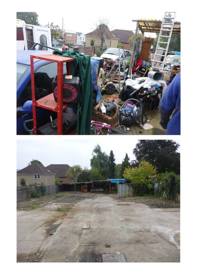 Photos taken before enforcement and straight after the clear up