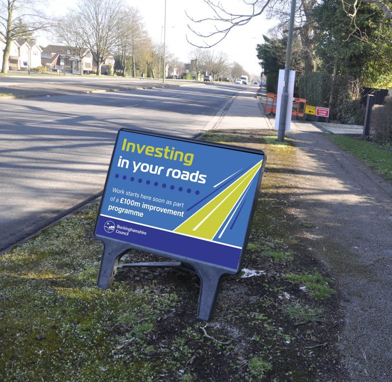'Investing in your roads' sign