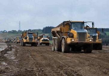 Lorries on site