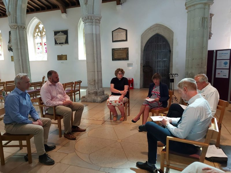 Minister Andrew Stephenson with Rob Butler MP, Rev Sally Moring, Ron Petersen and Cllr Sheila Bulpett at St Mary's Church, Wendover