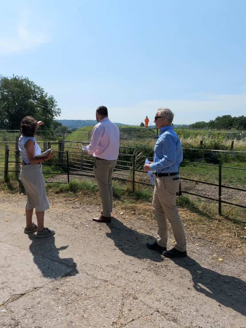 Minister Andrew Stephenson with Rob Butler MP and landowner discussing land and property issues with HS2 Ltd