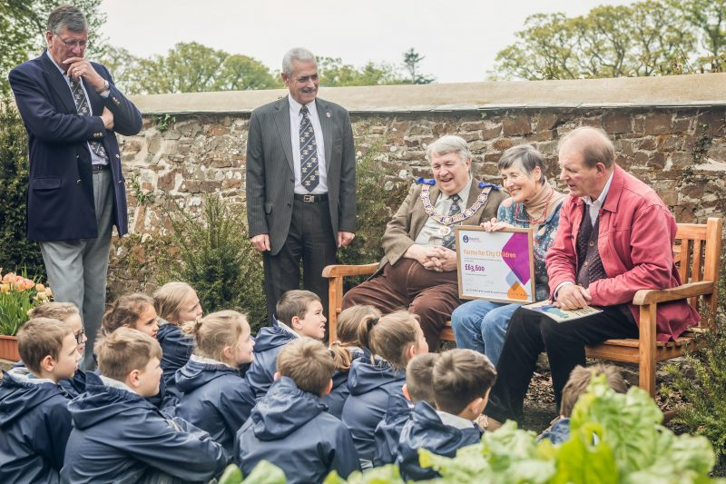 """From Left to Right. Clive Eden PCO, Andy Vodden MCF Rep, Ian Kingsbury PGM, Lady Clare Morpurgo, Sir Michael Morpurgo the author of """"Warhorse"""" and the founder of the charity """"Farms for City Children"""" (photo - Devon Wedding Photographers)"""