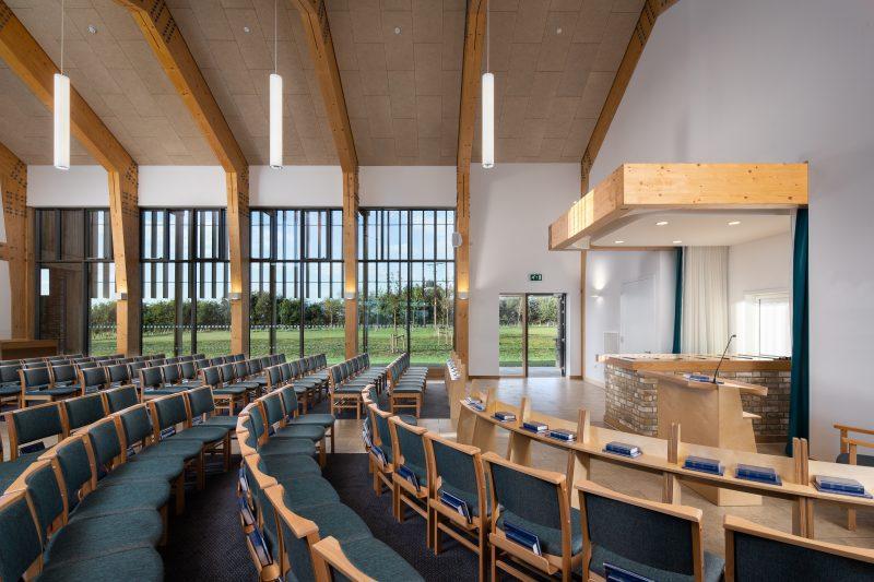 Interior and exterior photos of the Bierton Crematorium