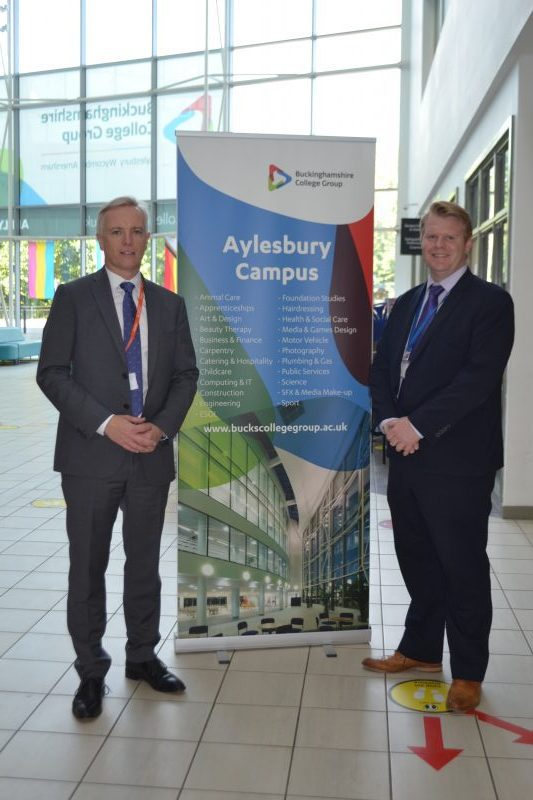 Rob Butler MP and Executive Director, Curriculum Planning and Design Richard Kirkham Photo: Buckinghamshire College Group