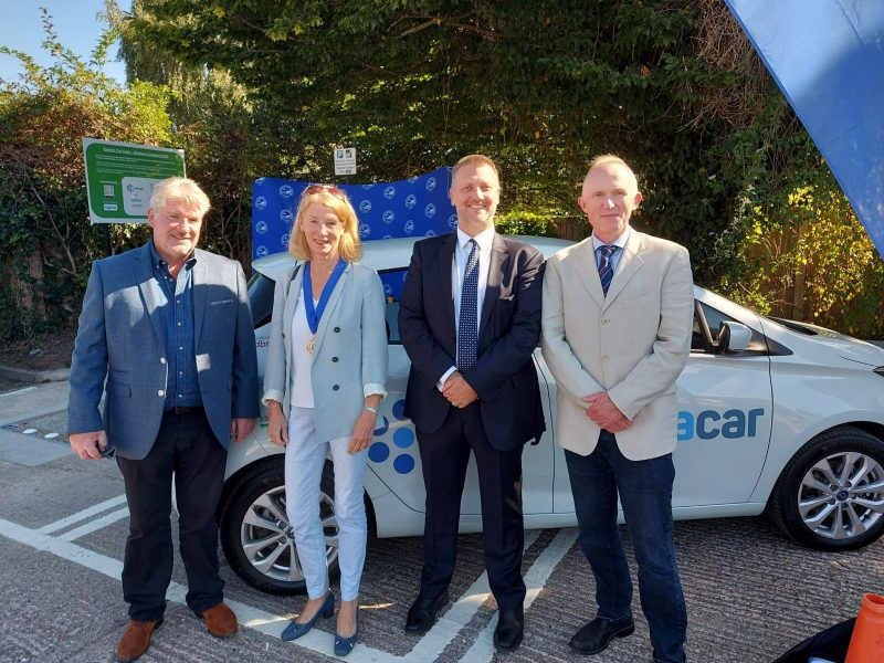 Cabinet Member for Transport, Steven Broadbent (3rd from left) alongside local councillors (L-R) Mark Turner and Dominic Barnes, with Marlow Town Council Deputy Mayor Cllr Jocelyn Towns
