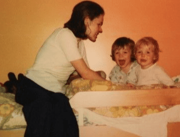 Liz with her first two children c. 1975